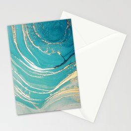 Aquamarine Blue + Gold Ripples Abstract Watercolor Painting Stationery Cards