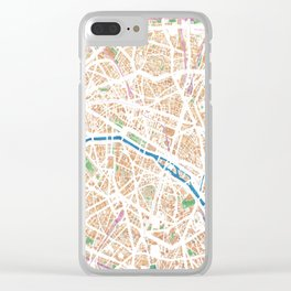 Watercolor map of Paris Clear iPhone Case