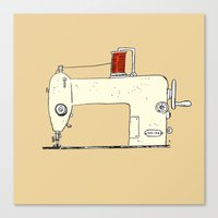 sewing Canvas Prints featuring Sewing machine by taichi_k