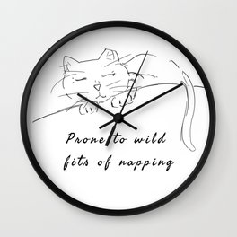 Wild cat naps Wall Clock