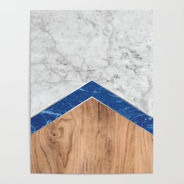 Arrows - White Marble, Blue Granite & Wood #436 Poster