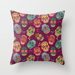 Sugar Skull Pattern Throw Pillow