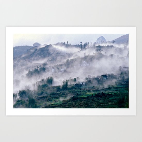 Foggy Mountain of Vietnam Art Print
