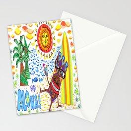 mid century modern Hawaiian tiki toast pattern Stationery Cards