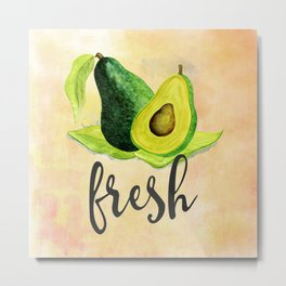 Green Avocado in Watercolor Metal Print