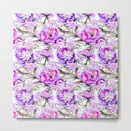 Modern lilac violet watercolor hand painted floral motif Metal Print