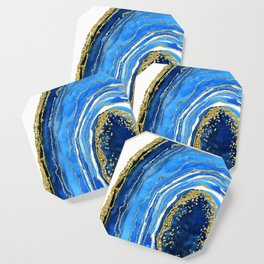 Cobalt blue and gold geode in watercolor (2) Coaster