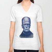 frankenstein V-neck T-shirts featuring frankenstein by FlacoGarcia