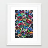 leah flores Framed Art Prints featuring Flores by Carolina Delleteze