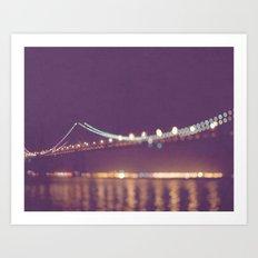 Let's go for a walk. San Francisco Bay bridge night photograph. Art Print