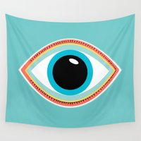 evil eye Wall Tapestries featuring Evil Eye Aqua by MY  HOME