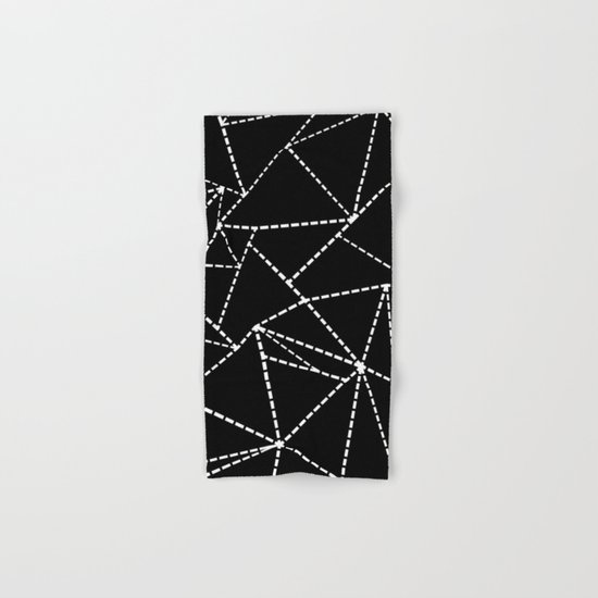 Abstract Dotted Lines White on Black Hand & Bath Towel