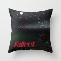 fallout Throw Pillows featuring Fallout Pixels by Kazisvet