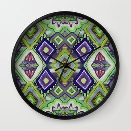 Green & Purple Diamonds Wall Clock