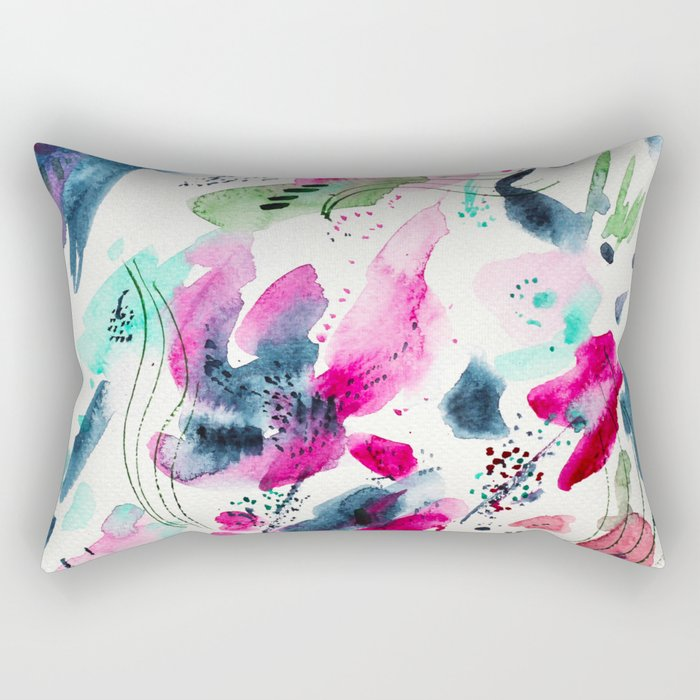 Floral abstraction #2 || watercolor Rectangular Pillow