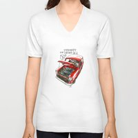mini cooper V-neck T-shirts featuring Mini Cooper Classic in Red by Swasky