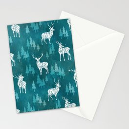 Ice Forest Deer Turquoise Stationery Cards