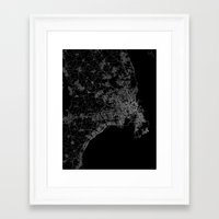 copenhagen Framed Art Prints featuring Copenhagen by Line Line Lines