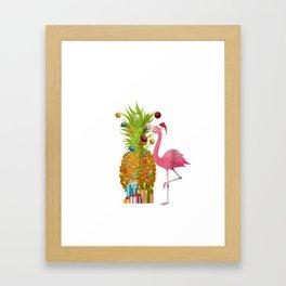 Mele Kalikimaka Flamingo Christmas Pineapple Hawai Framed Art Print