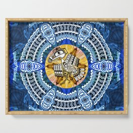 Raven Steals the Sun Pacific Northwest Coast Native Psychedelic Mandala Serving Tray