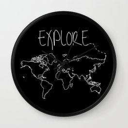 Explore World Map Wall Clock