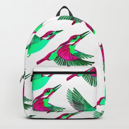 Flying Kingfishers | Pink and Green Color Palette Backpack