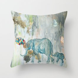 Baby and Mother elephant with Balloons Throw Pillow