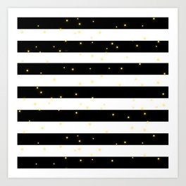 Black and White Stripes with Golden Dots Art Print
