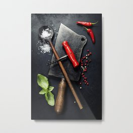 Vintage cutlery and fresh ingredients Metal Print