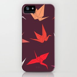 Japanese Origami paper cranes sketch, symbol of happiness, luck and longevity iPhone Case