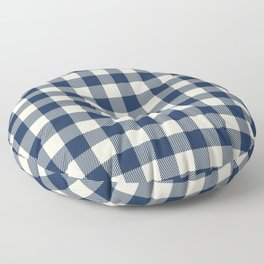 Buffalo Plaid Rustic Lumberjack Blue and White Check Pattern Floor Pillow