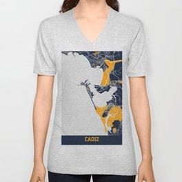 Cadiz - Spain Bluefresh City Map Unisex V-Neck