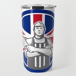 British Butcher Front Union Jack Flag Icon Travel Mug