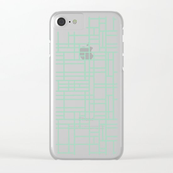 Map Outline Mint Clear iPhone Case