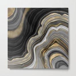 Black & Gold Agate Stone Metal Print