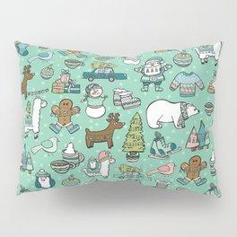 Christmas Time, Christmas Critter, Aqua Blue, Holly Jolly Holiday Pattern Pillow Sham