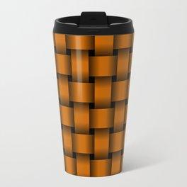 Dark Orange Weave Travel Mug