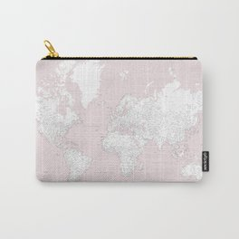 World map, highly detailed in dusty pink and white Carry-All Pouch
