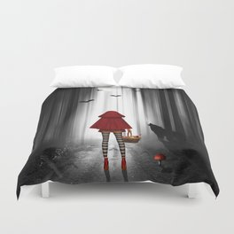 Little Red Riding Hood and the wolf Duvet Cover