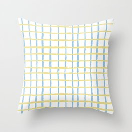 Pastel yellow teal watercolor geometrical checker stripes Throw Pillow