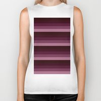 burgundy Biker Tanks featuring Burgundy stripes by Simply Chic