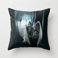 verse Throw Pillows featuring Reverse!verse Purgatory by Justyna Rerak