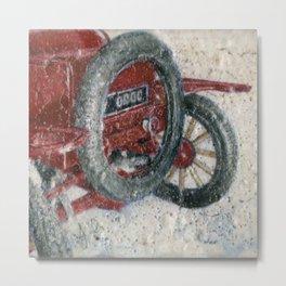 Model T Red Classic Car Wheel Minimalist Realistic Painting Metal Print