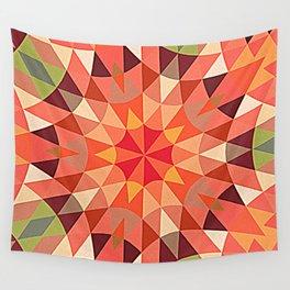 Peach Retro Geometry Wall Tapestry