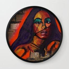 Solane,girl,woman,graffiti,portrait,colorful,painting,original,wall art,canvas,lyrics,singer,album Wall Clock