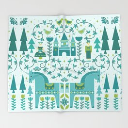 Fairytale Illustration in Blue Throw Blanket