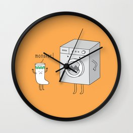 sock eating monster Wall Clock