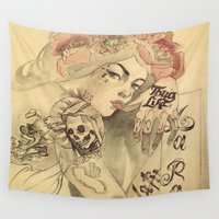 mucha Wall Tapestries featuring mucha chicano by paolo de jesus