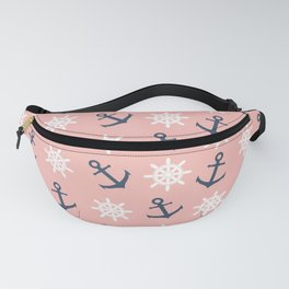 Nautical coral navy blue anchor and wheel pattern Fanny Pack