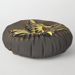 2329-JPC Abstract Striped Nude Powerful Woman Creator Goddess Radiating Golden Feminine Floor Pillow